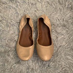 Lucky Brand Nude Tan Pearl 7.5 Ballet Flats
